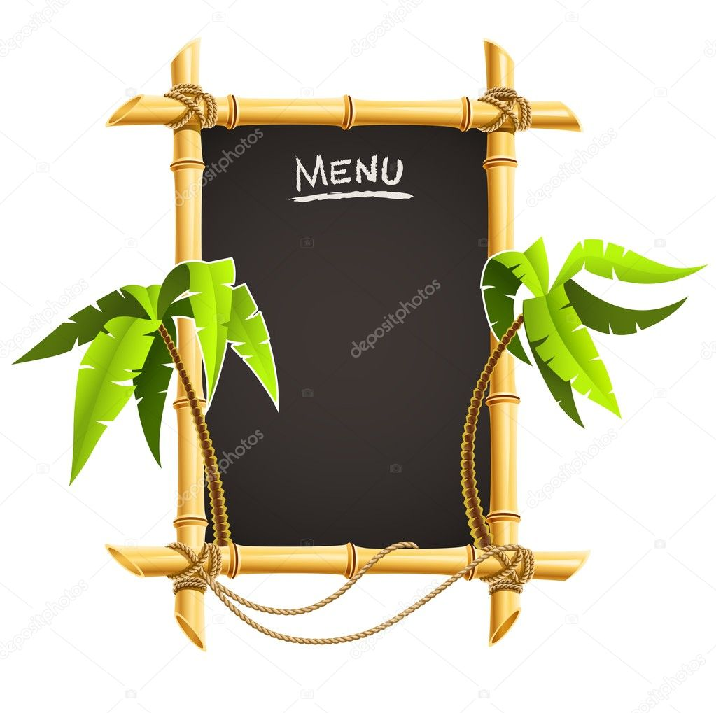 Bamboo frame with tropical palms vector illustration isolated on white background  Stock Vector #5782436