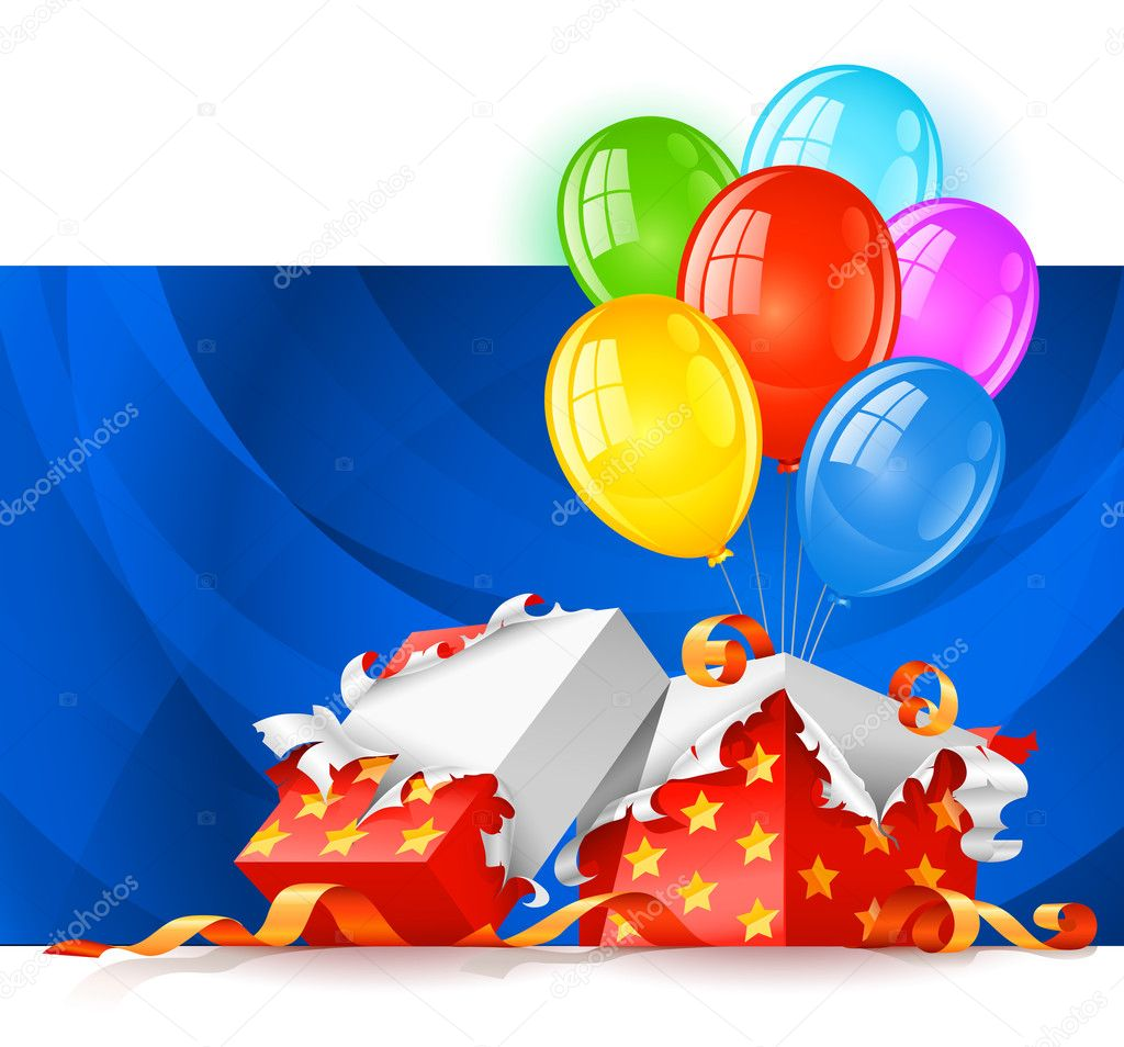 Open gift box with color balloons vector illustration, isolated on white background — Stock Vector #5782460