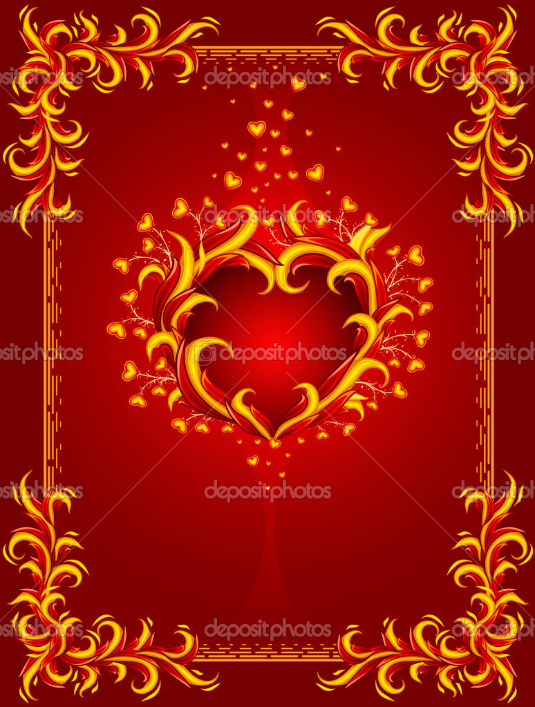 Red background with burning heart and frame — vector illustration — Stock Vector #5782553