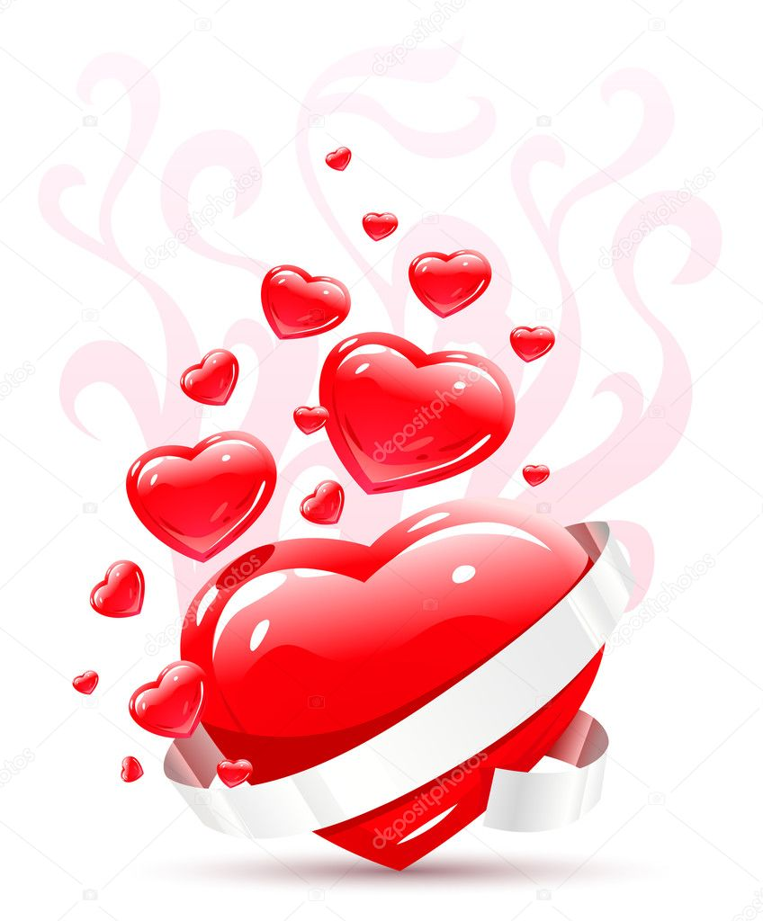 Valentines ornament with red love heart vector illustration — Stock Vector #5782565