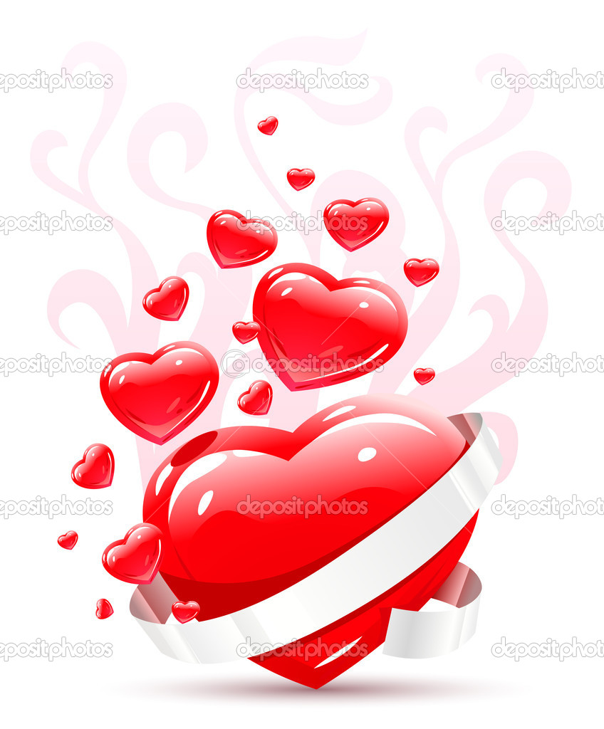 Valentines ornament with red love heart vector illustration — Image vectorielle #5782565