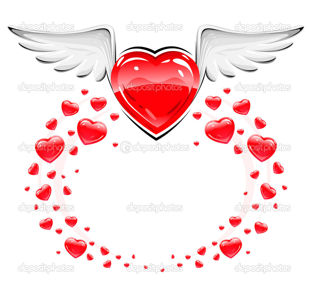 Red love heart with white wings flying vector illustration  Stock Vector #5782570