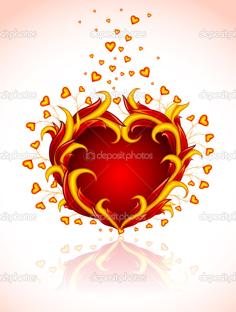 Red burning heart to valentine's day — vector illustration isolated on white background — Stock Vector #5782572
