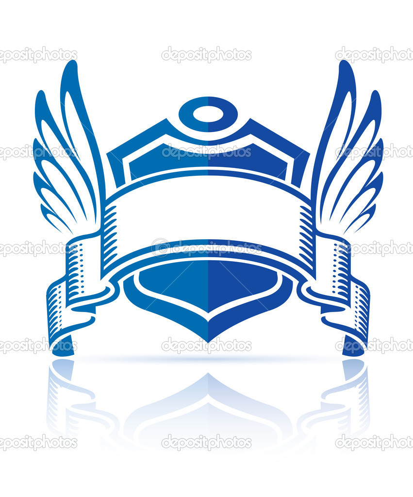 Icon with shield ribbon and wings vector illustration, isolated on white background  Stock Vector #5782586