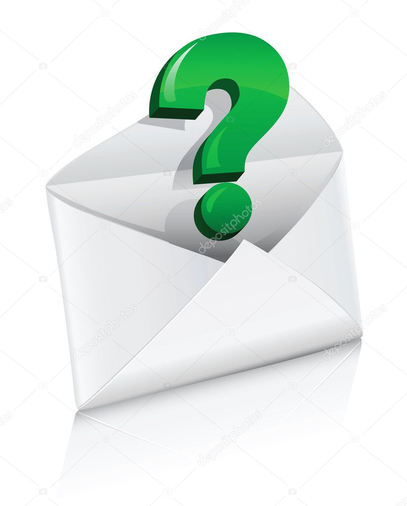 Vector icon mail envelope with question sign isolated — Stock Vector #5782634