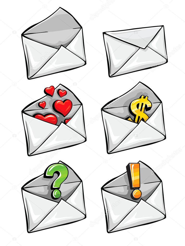 Vector icons mail envelope collection with business signs drawn — Stock Vector #5782639