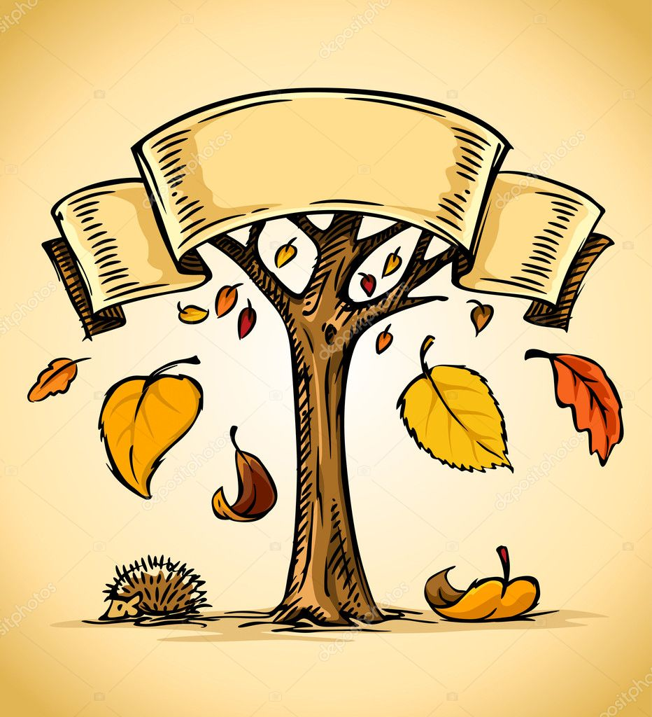 Vector illustration of autumn tree with yellow falling leaves  Stock Vector #5783404