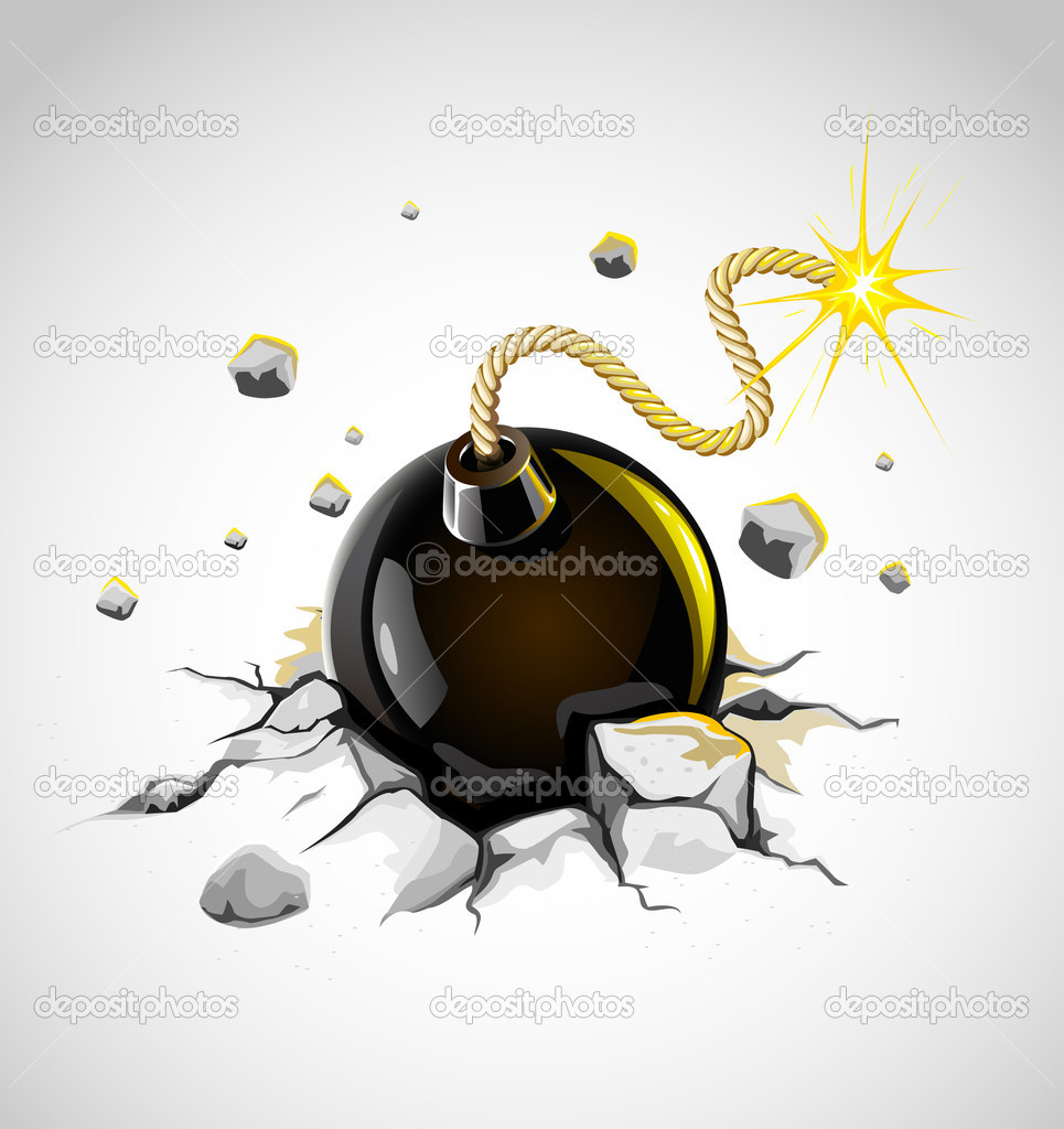 Concrete ground cracked by dangerous burning bomb - vector illustration  Stock Vector #5783831