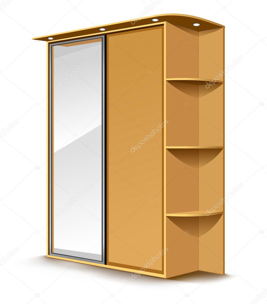 Vector wooden wardrobe with mirrow and shelfs isolated on white background — Stock Vector #5784665
