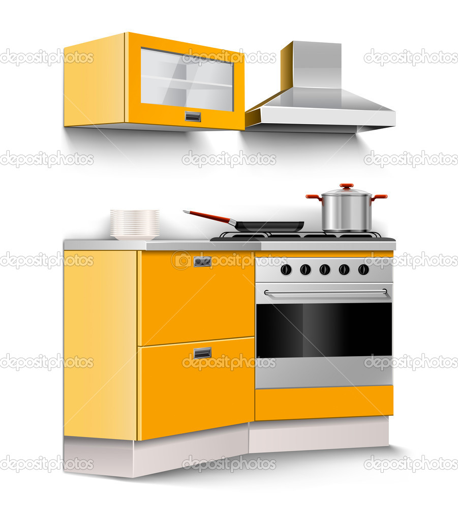 Vector new kitchen room furniture isolated on white background  Stock Vector #5784673