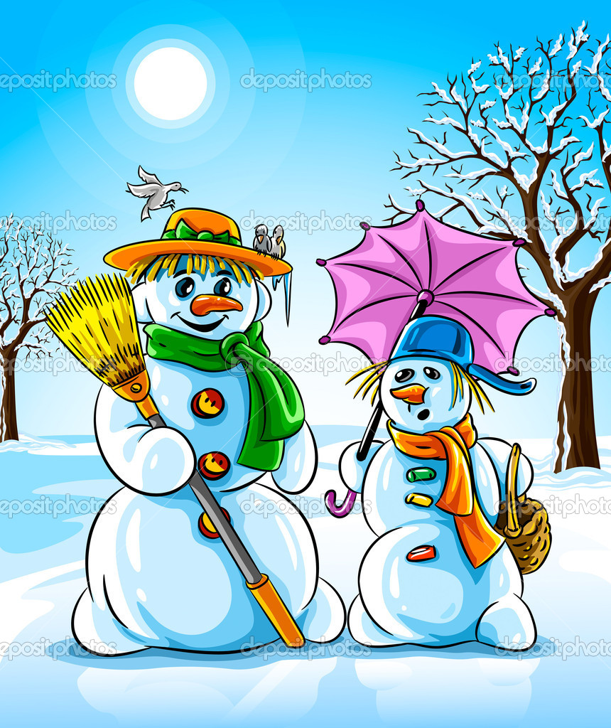 Vector illustration winter snowmen with broom pink umbrella — Stock Vector #5786004