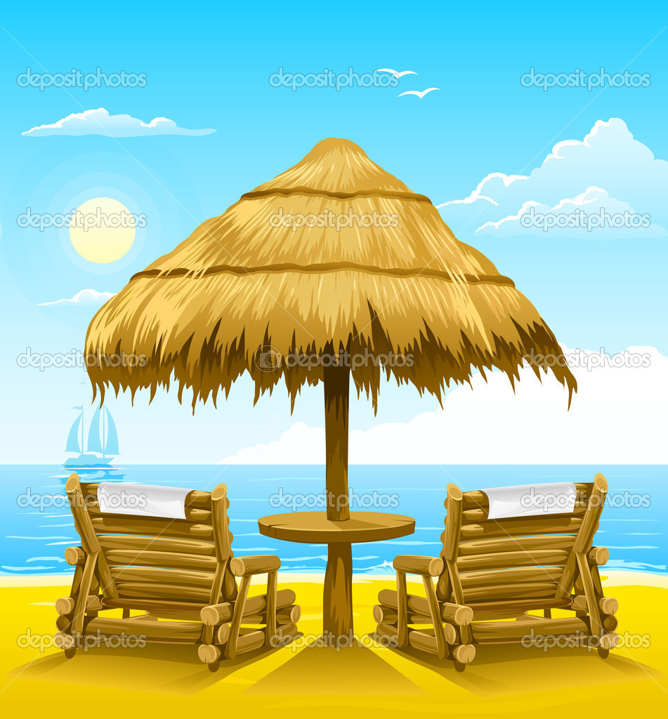 Two beach deck-chairs under wooden umbrella - vector illustration — Stock Vector #5786289