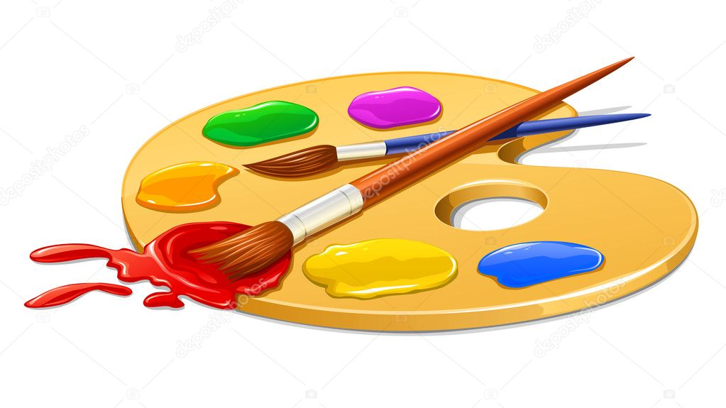Art palette with paint and brushes vector illustration — Stock Vector #5786305