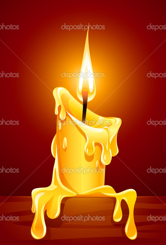 Flame of burning candle with dripping wax vector illustration — ベクター素材ストック #5786321