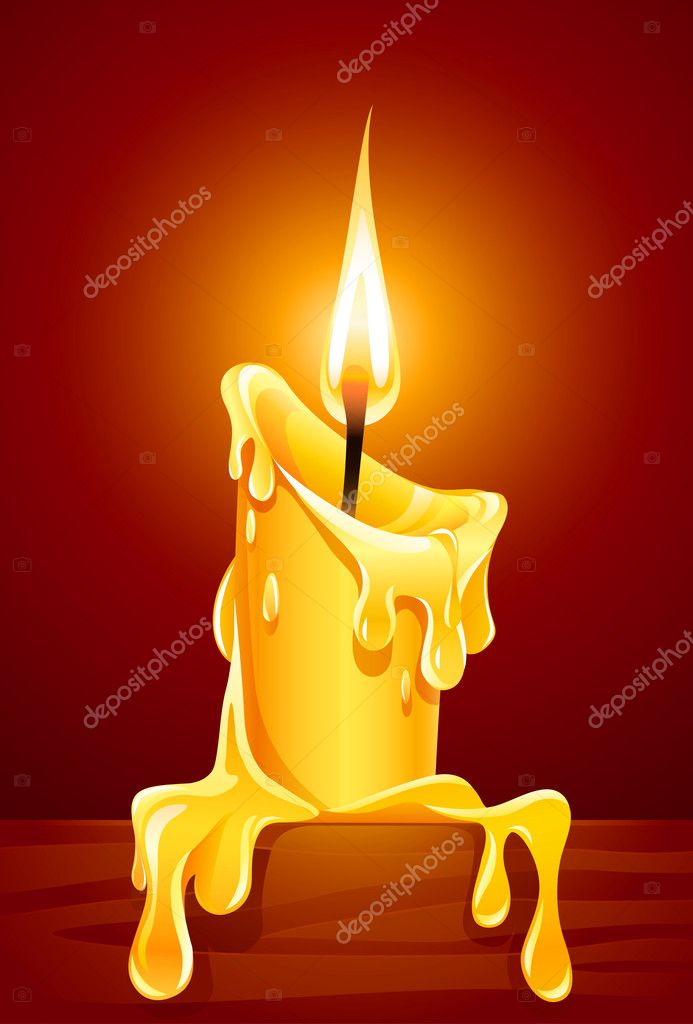 Flame of burning candle with dripping wax vector illustration — Stockvektor #5786321