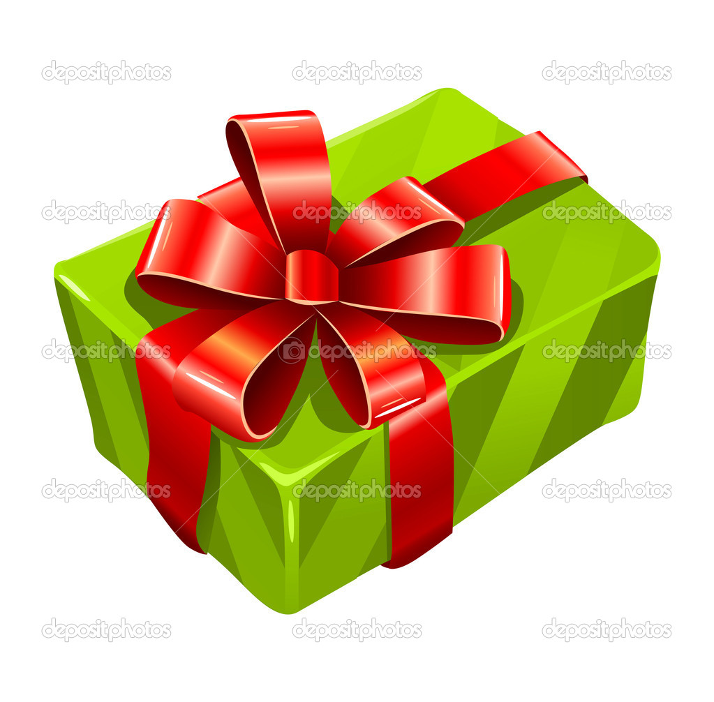 Vector gree gift box isolated on white background  Stock Vector #5786376