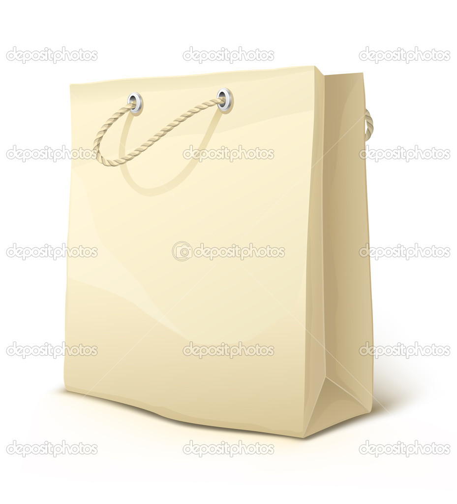Empty paper shopping bag with handles isolated - vector illustration — Stock Vector #5786377