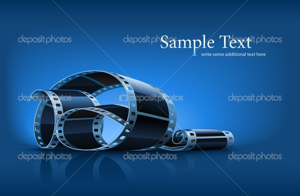Twisted film for photo or video recording on blue background vector illustration — Stock Vector #5786593