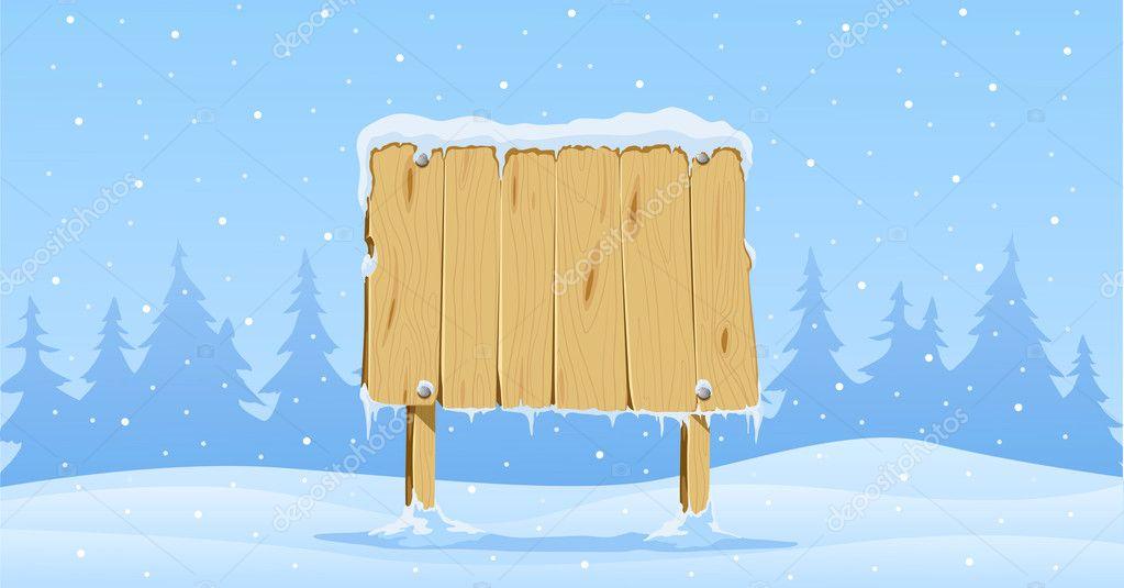 Blank Wooden Sign Board Wooden Blank Board in Snow on
