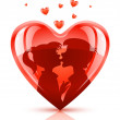 Red heart with young teens couple kissing - Stock Vector