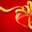 Red heart with gold ribbon Valentine's greeting card - Stok Vektör