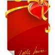 Red Valentine&#039;s day greeting card with heart and ribbon - Stok Vektr