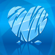 Broken icy heart on blue background — Stock Vector