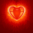 Red burning love heart - Stock Vector