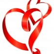 Red ribbon hearts — Vector de stock