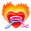 Red burning love heart with male and female symbols — Stock Vector