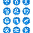 Set of blue zodiac astrology icons for horoscope - Stock Vector