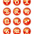 Set of red zodiac astrology icons for horoscope — Stock Vector