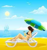 Girl relaxing on the sea beach deck-chair — Stock Vector