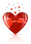 红色的心与年轻情侣剪影接吻 — 图库矢量图片