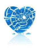 Broken blue icy heart — Stock Vector