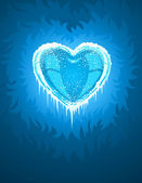 Blue cold icy heart — Stock Vector