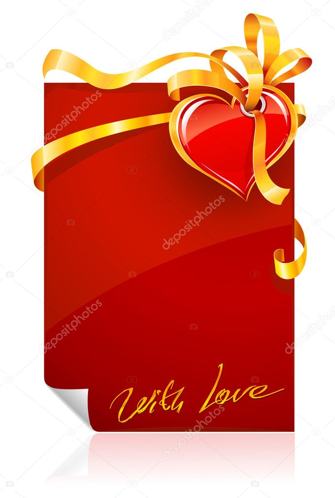 Red Valentine's day greeting card with heart and gold ribbon - vector illustration  Stock Vector #5793622