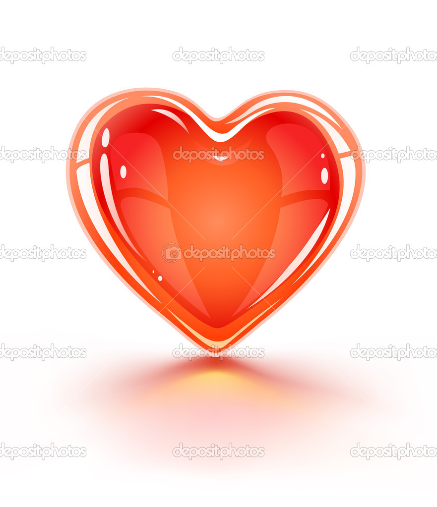 Red glossy valentine's love heart - vector illustration — Stock Vector #5793639