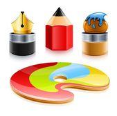 Iconos de herramientas de arte de la pluma lápiz y el pincel — Vector de stock