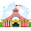 Vector de stock : Striped strolling circus marquee tent with flag