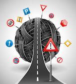 Enchevêtrement de routes avec des signes — Vecteur