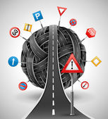 Maraña de caminos con signos — Vector de stock
