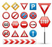 Icons set of road signs — Stock Vector