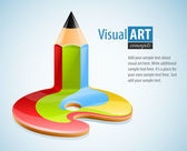 視覚芸術の記号として鉛筆します。 — ストックベクタ