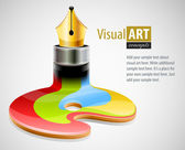 Ink pen as symbol of visual art — Vector de stock