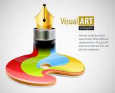Pluma de tinta como símbolo de las artes visuales — Vector de stock