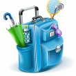 Travel bag with objects for entertainment - Stock Vector