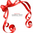 Greeting card template with red ribbon and bow — Vector de stock #5989923