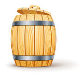 Wooden barrel with lid — Vector de stock
