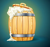Wooden barrel full of beer with foam — Stock Vector